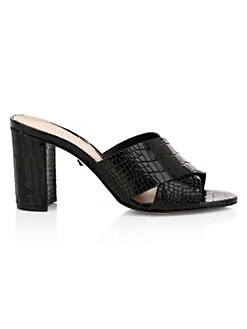 0370034e41dd Schutz. Renna Crocodile-Embossed Leather Mule Sandals