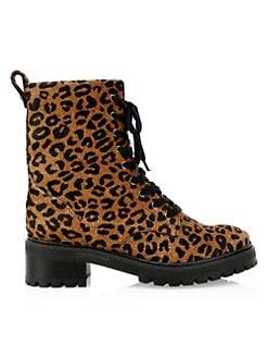 9354257b5262 Schutz. Gioconda Leopard Calf-Hair Combat Boots