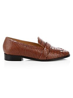 a54b6923256 Schutz. Romina Crocodile-Embossed Leather Penny Loafers