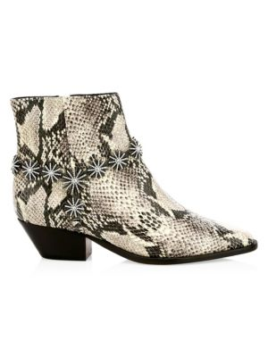 Schutz Natiely Snake Embossed Leather Booties