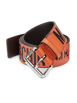2b39fd683 QUICK VIEW. Moschino. Printed Logo Strap Leather Belt