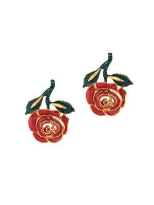 Oscar De La Renta Petite Rose Resin Goldtone Stud Earrings