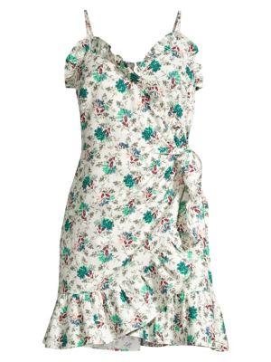 Rebecca Taylor Women's Printed Ruffle Wrap Dress In Emerald Combo