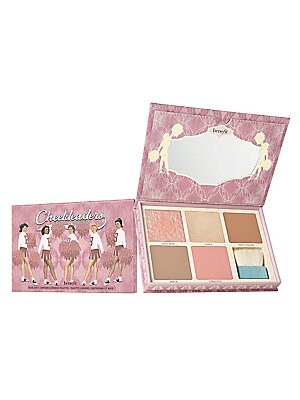 Image of $150 VALUE WHAT IT IS You'll flip for this cheek palette! Glow and win with Benefit's limited-edition, full-size cheek palette to highlight and contour. Comes complete with a full-size brush, mirror, and Signature Tips & Tricks. 0.28 oz, 0.17 oz, 0.17 oz,
