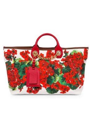 Dolce Amp Gabbana Portofino Floral Canvas Shopper