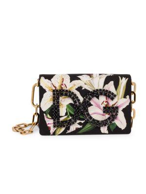Dolce Amp Gabbana Millennial Lily Print Embellished Shoulder Bag