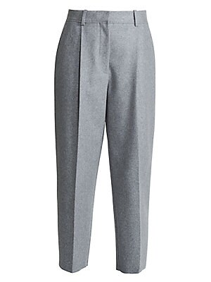 Image of A cropped leg and crisp pleats lend these wool-blend pants a modern silhouette. Top with a tucked-in slouchy sweater for a look that is tailored yet unfussy. Belt loops Zip fly with hook-and-eye closure Side slash pockets Front pleats Lining: Viscose Pock