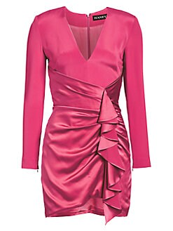 953527ceac47 Haney. Draped Ruffle Silk Cocktail Dress
