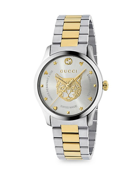G-Timeless Stainless Steel & Yellow Gold PVD Tiger Dial Bracelet Watch