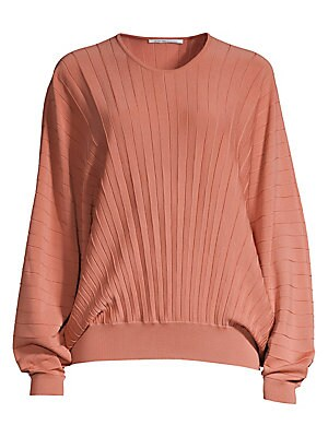 Image of Allover pleats add interesting texture to this knit wool top. The voluminous dolman sleeves keep the silhouette feeling modern and hyper feminine. Roundneck Extra-long dolman sleeves Ribbed cuffs and hem Pullover style Pleated finish Wool Dry clean Made i