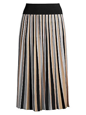 Image of As of late, Agnona creative director Simon Holloway has been playing with pleats. This midi-length skirt is knit through with pleats, their linearity augmented by vertical stripes painted in neutral hues. Banded waist Pull-on style Ribbed waistband Pull-o