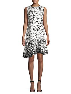 1d83b6794dc Donna Karan New York. Dot Print Asymmetric Hem Dress