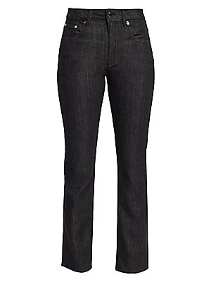 Image of A luxury update on a classic wardrobe staple, these black denim cotton jeans are woven through with cashmere for a rich feel. Their high-rise fit falls to a structured straight leg that takes you effortlessly from one season to the next. Belt loops Zip fl