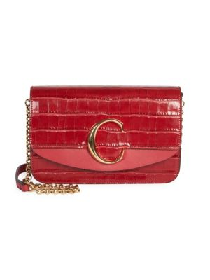 Chlo Chlo C Croc Embossed Leather Clutch