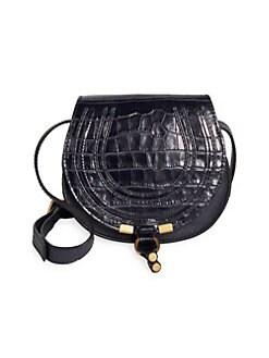 d946bda76406 Chloé. Marcie Croc-Embossed Leather Crossbody Bag
