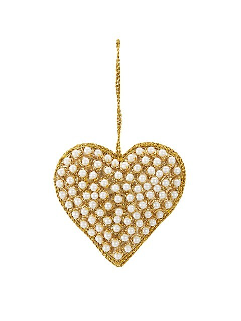 Imitation Pearl-Beaded Heart Ornament