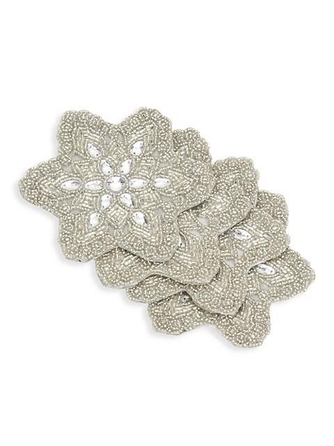 Beaded 4-Piece Snowflake Coaster Set