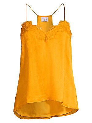 """Image of Artful lace trim frames a silky airy tank top. V-neck Spaghetti straps Sleeveless Pullover style Racerback Fully lined Silk Hand wash Imported SIZE & FIT About 26"""" from shoulder to hem Model shown is 5'10"""" (177cm) wearing US size Small. Contemporary Sp -"""