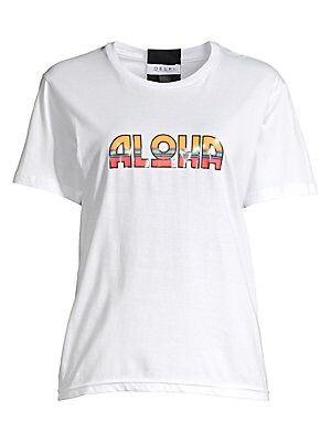 "Image of Glossy ""Aloha"" lettering fronts this cotton tee, a cheerful addition to the silhouette. Crewneck Short sleeves Pullover style Cotton Hand wash Made in USA SIZE & FIT Relaxed fit About 24.5"" from shoulder to hem Model shown is 5'10"" (177cm) wearing US size"