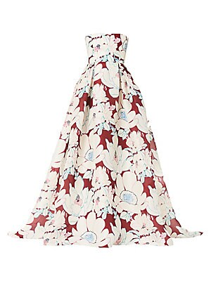 Image of A large-scale floral motif in a minimal linear style adorns this eye-catching ball gown. Box pleats at the waist jut out to a voluminous ball skirt, while a heavyweight silk construction enhances its architectural structure. Squareneck Strapless Concealed