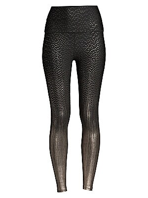 "Image of A glamorous metallic dot print defines these sleek leggings. Wide waistband Slip-on styling Metallic print Polyester/spandex Machine wash Made in USA SIZE & FIT Rise, about 12.5"" Leg opening, about 8"" Inseam, about 25"" Model shown is 5'10"" (177cm) wearing"