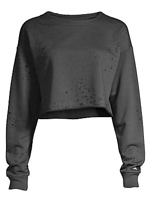 """Image of Distressed detailing adds edge to this versatile cropped sweatshirt. Crewneck Long sleeves Slip-on styling Cotton/polyester Machine wash Imported SIZE & FIT About 18"""" from shoulder to hem Model shown is 5'10"""" (177cm) wearing US size Small. Contemporary Sp"""