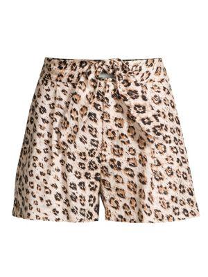 Joie Shorts Carden Leopard Linen Tie-Front Shorts
