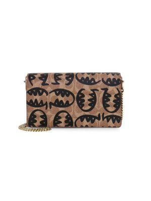 Coach Coach 1941 X Rexy By Guang Yu Callie Foldover Chain Signature Canvas Leather Clutch