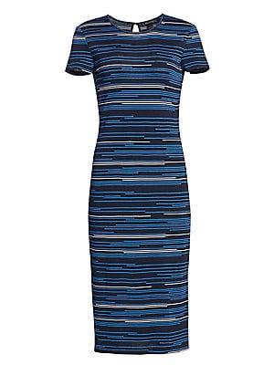 8136f13afde5 St. John - Intarsia Stripe Knit Midi Dress