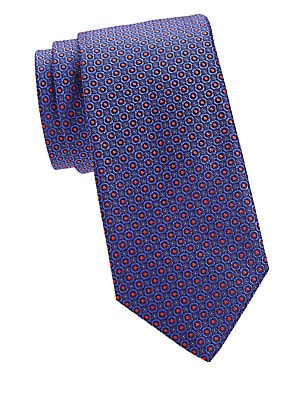 """Image of A minimalist floral print adds graphic impact to this silk tie. Silk Dry clean Made in Italy SIZE Width, about 3"""". Men Luxury Coll - Canali Clothing > Saks Fifth Avenue. Canali. Color: Blue."""