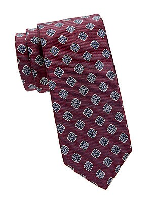"""Image of An intricate medallion print gives this silk tie a regal look. Silk Dry clean Made in Italy SIZE Width, about 3"""". Men Luxury Coll - Canali Clothing > Saks Fifth Avenue. Canali. Color: Red."""