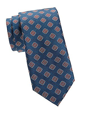 """Image of An intricate medallion print gives this silk tie a regal look. Silk Dry clean Made in Italy SIZE Width, about 3"""". Men Luxury Coll - Canali Clothing > Saks Fifth Avenue. Canali. Color: Teal."""