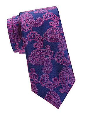 """Image of A herringbone background is paired with a regal paisley print in this silk tie. Silk Dry clean Made in Italy SIZE Width, about 3"""". Men Luxury Coll - Canali Clothing > Saks Fifth Avenue. Canali. Color: Navy."""