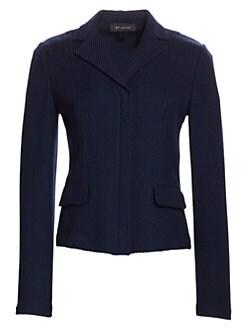 13f3b4c93669 St. John - Sarga Knit Twill Collared Jacket