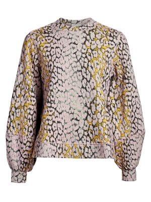 Ganni Isoli Puff Sleeve Cotton Sweatshirt