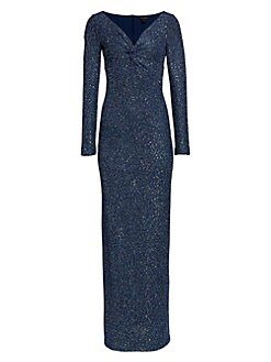 072fee001090 Product image. QUICK VIEW. St. John. Sequin Knit V-Neck Column Gown