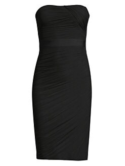 f64b7bbea11d Herve Leger. Shirred Strapless Cocktail Dress