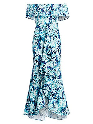 "Image of Billowy print dress with plunging neckline and cascading ruffles. Crossover V-neck Short sleeves Concealed back zip closure Self-tie waist Lined Cotton/spandex Dry clean Imported SIZE & FIT Fit-and-flare silhouette About 65"" from shoulder to hem Model sho"