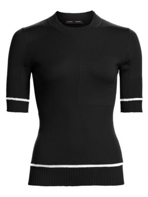 Proenza Schouler Short Sleeve Silk Cashmere Blend Knit Sweater
