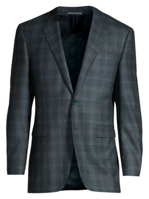 Canali Modern Fit Checker Wool Cashmere Jacket