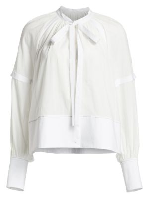 Proenza Schouler Gathered Puff Sleeve Cotton Blouse