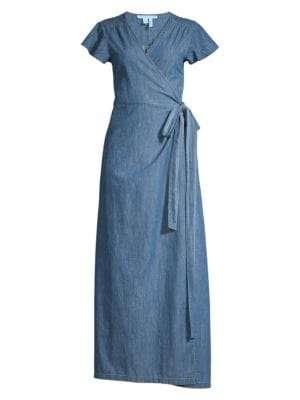 Draper James Chambray Wrap Maxi Dress