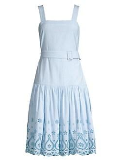 0bf22ebf549 Draper James. Embroidered Cotton Belted Midi Dress
