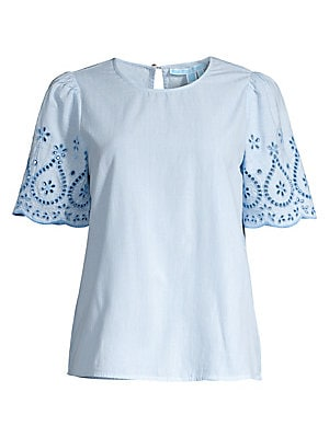 embroidered-cotton-popover-top by draper-james