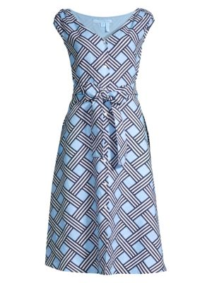 Draper James Lattice Button Front Linen Midi Dress