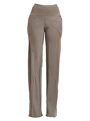 Image of Crafted in a relaxed wool and cotton blend, these easy-to-wear knit pants are defined by their asymmetric seaming and wide raw-edged cuffs. Their ribbed high waistband make them ideal for pairing with cropped tops for an edgy, moto pant finished in an on-