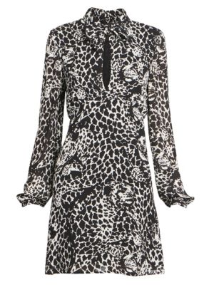 Saint Laurent Long Sleeve Tieneck Leopard Dress
