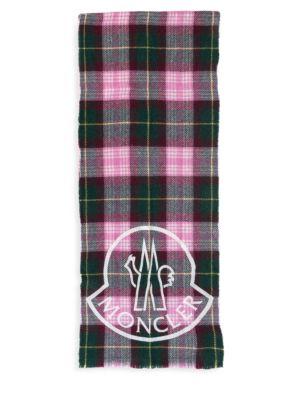 Moncler Wool Blend Plaid Logo Scarf