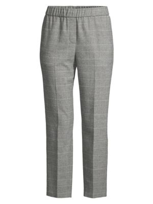 Peserico Glen Plaid Wool Pull On Pants