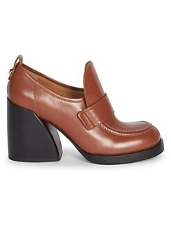 e7cb39c356a QUICK VIEW. Chloé. Adelie Leather Block Heel Loafers